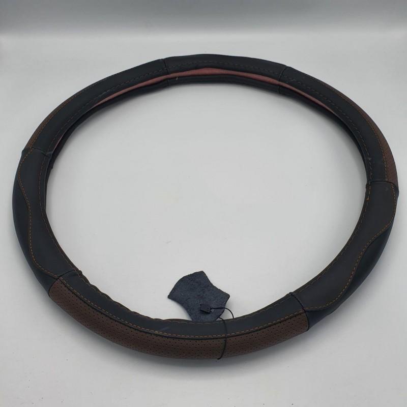 Чехол на руль кожаный с коричневыми вставками 450 мм