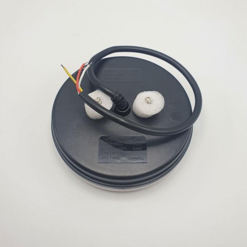 Универсальный задний фонарь диодный с динамическим индикатором поворота круглый LED + НЕОН 10-30V R