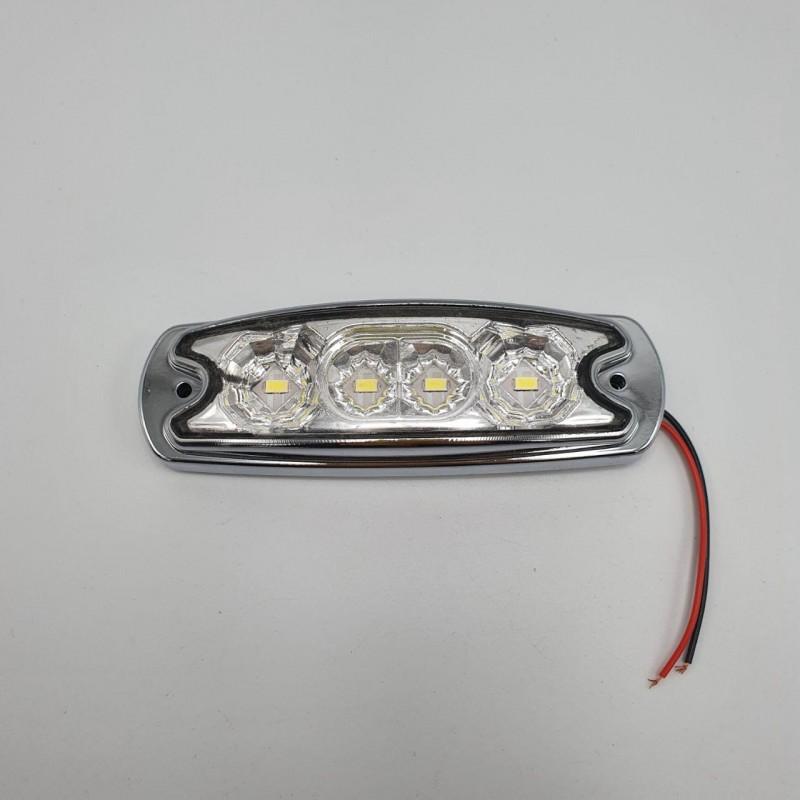 Габаритный фонарь хромированный светодиодный белый 4LED 24V