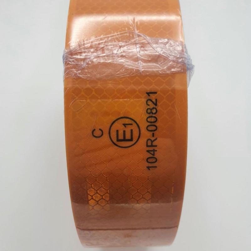 Лента ПВХ светоотражающая желтая с омологацией (знак Е) 50,0 м