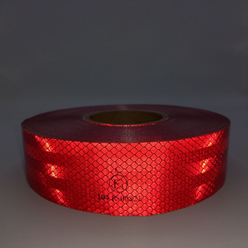 Лента ПВХ светоотражающая красная с омологацией (знак Е) 50,0 м