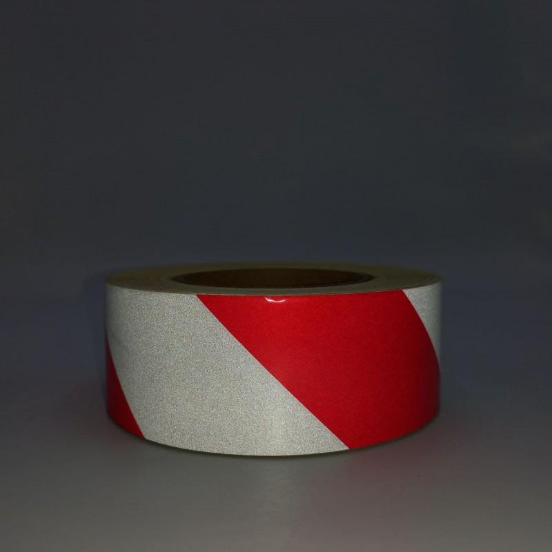 Лента светоотражающая для маркировки кузова красно-белая сигнальная 50м