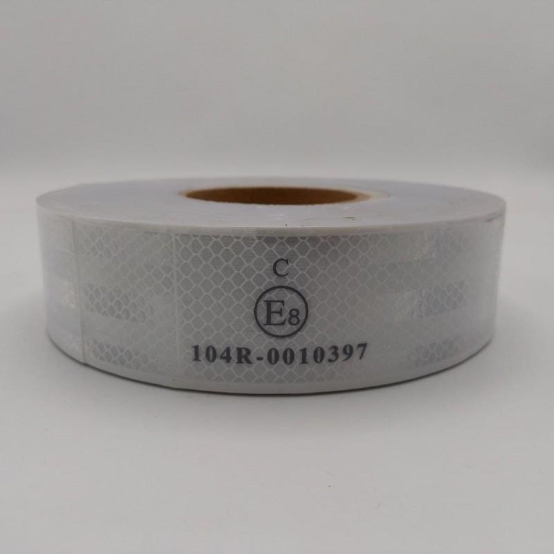 Лента ПВХ светоотражающая белая с омологацией (знак Е) 50,0 м