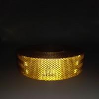 Лента ПВХ светоотражающая желтая с омологацией (знаек Е) 50,0 м