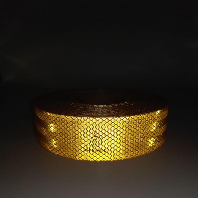 Лента светоотражающая для маркировки кузова жёлтая контурная (Е) 50м