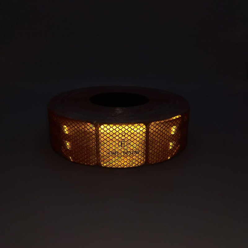 Лента ПВХ светоотражающая желтая сегментная с омологацией (знак Е) 50,0 м