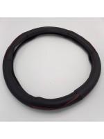 Чехол на руль кожаный черный с красной каймой 450 мм
