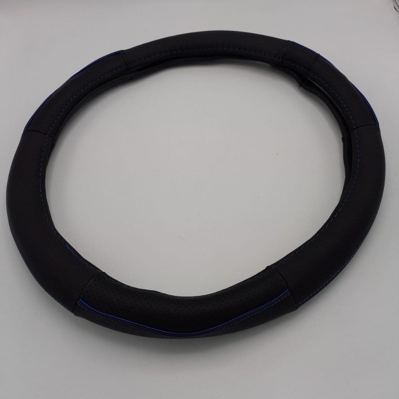 Чехол на руль кожаный черный с синей каймой 450 мм